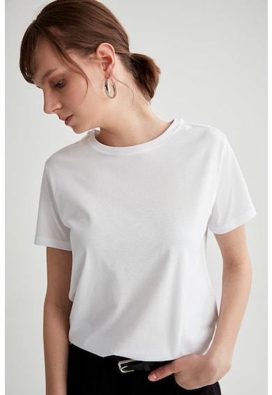 DeFacto Tricou de bumbac cu decolteu la baza gatului Femei