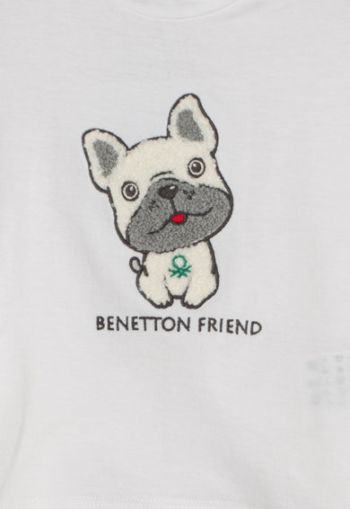 United Colors of Benetton Bluza din bumbac organic cu aplicatie din material teddy Baieti