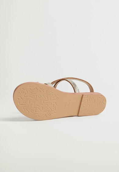 Mango Sandale de piele cu aspect metalic Bella Fete