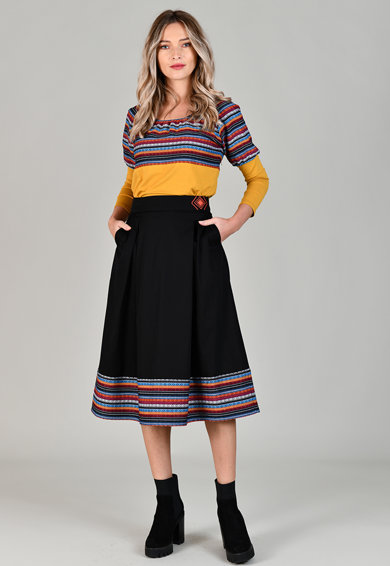 Format Lady Fusta midi cu model etnic Femei