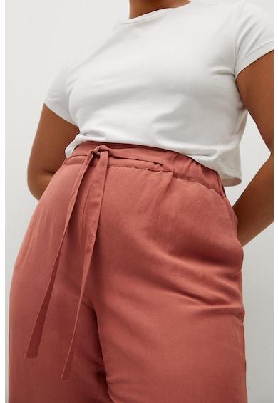 VIOLETA BY MANGO Pantaloni din amestec de in cu talie inalta Cotili Femei