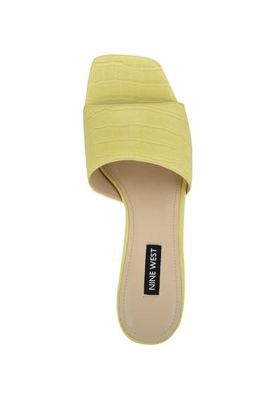 NINE WEST Papuci din piele ecologica cu toc si aspect de piele de crocodil Donna Femei
