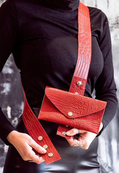 A&S Negulescu Geanta plic crossbody cu aspect de piele de crocodil Femei