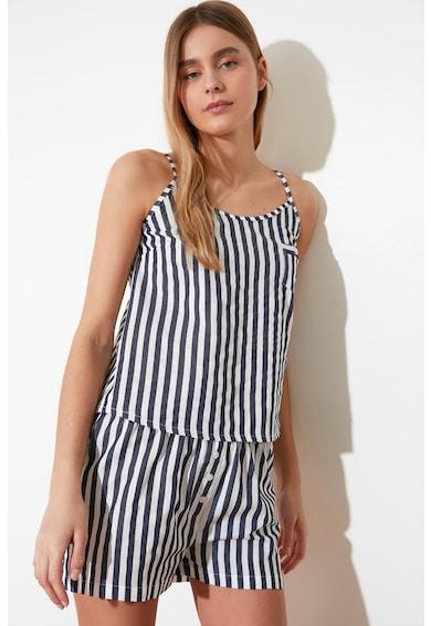 Trendyol Pijama in dungi cu buzunar pe piept Femei
