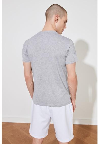 Trendyol Tricou regular fit cu imprimeu text pe piept Barbati