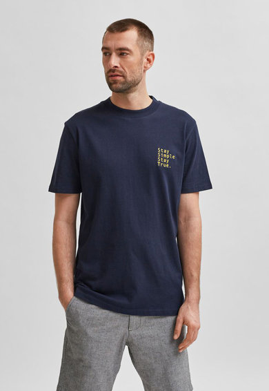 Selected Homme Tricou din bumbac organic cu broderie text Barbati