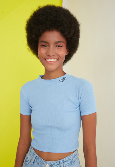 Trendyol Bluza crop din jerseu cu aspect striat Femei