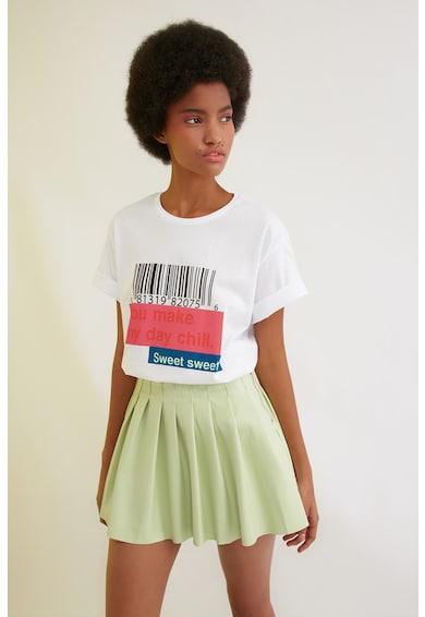 Trendyol Tricou cu decolteu la baza gatului si imprimeu Femei