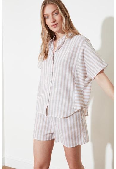 Trendyol Pijama de bumbac cu pantaloni scurti si model in dungi Femei