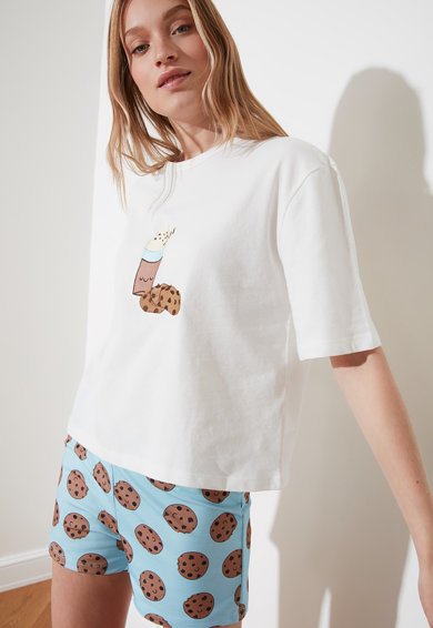 Trendyol Pijama cu maneci scurte si imprimeu Femei