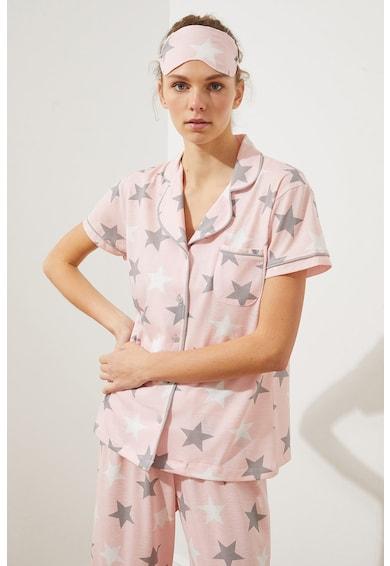 Trendyol Pijama de bumbac cu model cu stele Femei