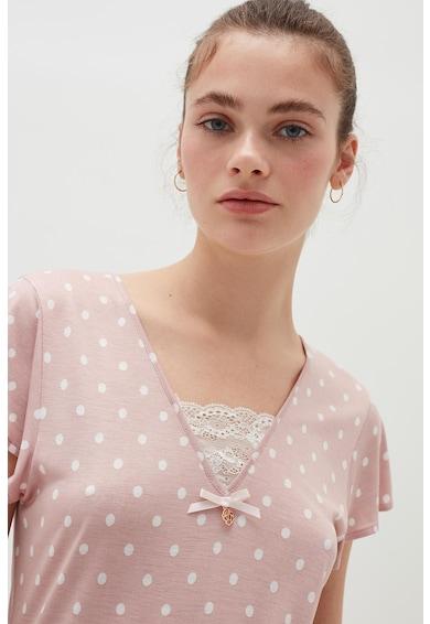 OVS Tricou de pijama cu imprimeu cu buline Femei