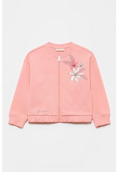 OVS Bluza sport cu fermoar si imprimeu floral Fete