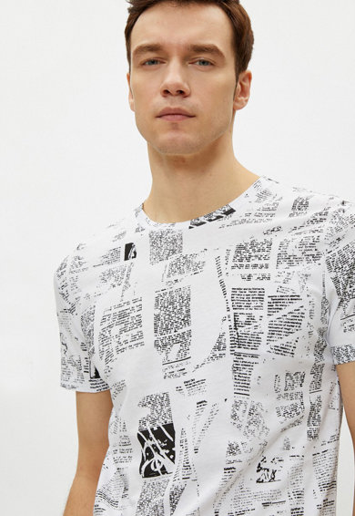 KOTON Tricou din bumbac cu imprimeu ziar Barbati