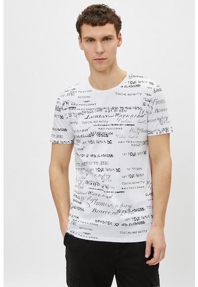 KOTON Tricou din bumbac cu imprimeu text Barbati