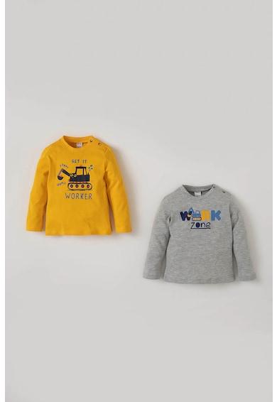 DeFacto Set de bluze din bumbac cu imprimeu grafic - 2 piese Baieti