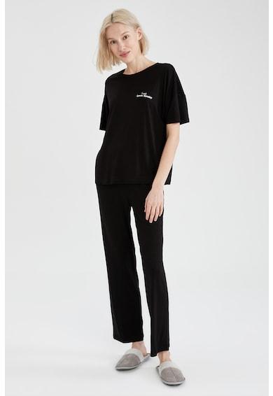 DeFacto Pijama cu pantaloni lungi si imprimeu text Femei