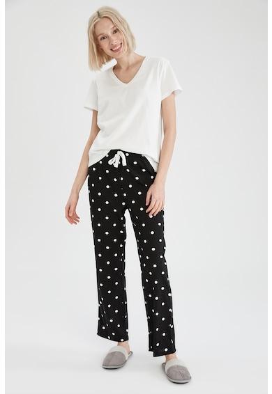 DeFacto Pijama de bumbac cu decolteu in V Femei