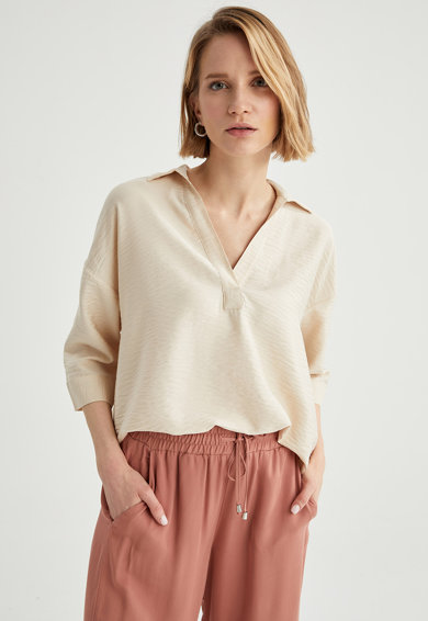 DeFacto Bluza cu decupaj in V Femei