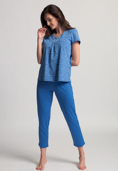 Sofiaman Pijama cu tricou si pantaloni capri de bumbac organic Deborah Femei