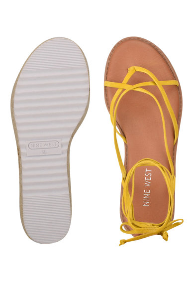 NINE WEST Sandale tip espadrile de piele intoarsa cu bareta separatoare Candid Femei