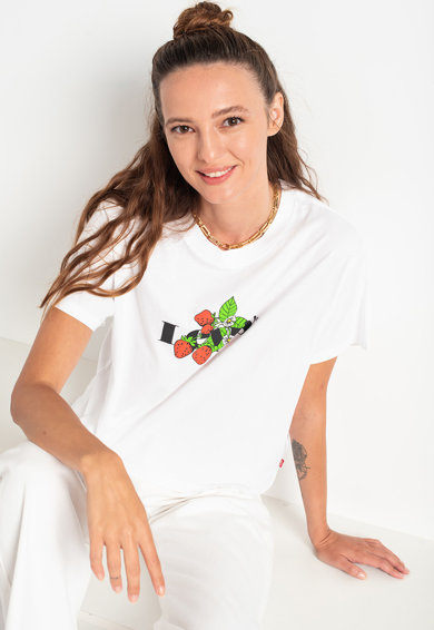 Levi's Tricou cu decolteu la baza gatului Graphic Varsity Femei