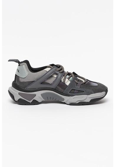 Diesel Pantofi sport din piele intoarsa cu insertii din piele ecologica si material textil S-Kipper Barbati