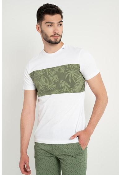BLEND Tricou cu decolteu la baza gatului si imprimeu tropical Barbati