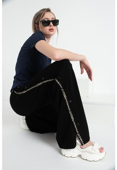EA7 Pantaloni sport cu croiala ampla si benzi laterale cu imprimeu logo Femei