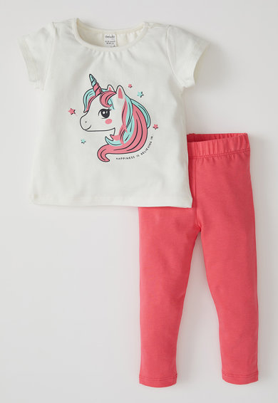 DeFacto Set de tricou si colanti, cu imprimeu Unicorn, 2 piese, Alb/Corai Fete