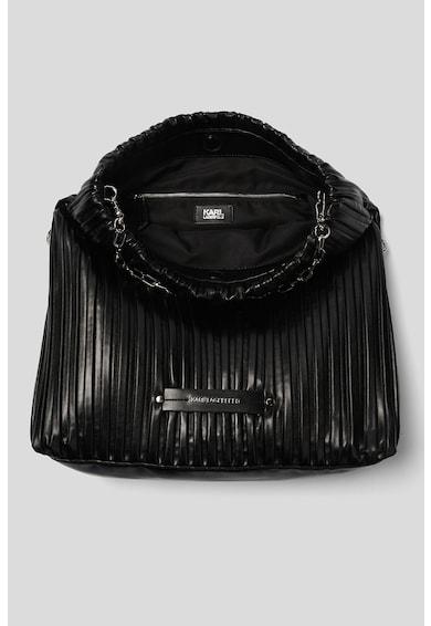 Karl Lagerfeld Geanta de piele ecologica cu bareta de umar si aplicatie logo metalica Kushion Femei