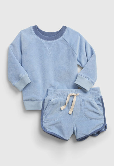 GAP Set de pantaloni scurti si bluza sport din material terry moale Fete