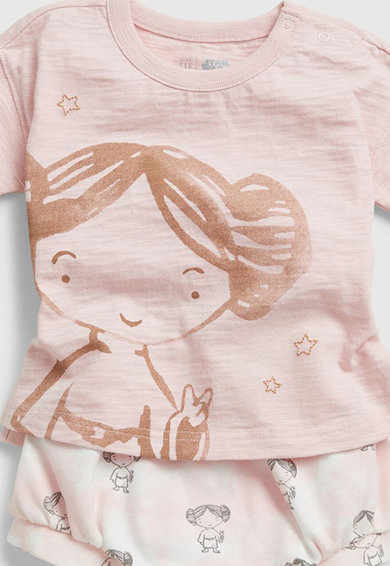 GAP Set 2 piese tricou si chiloti cu imprimeu fetite, Piersica Fete