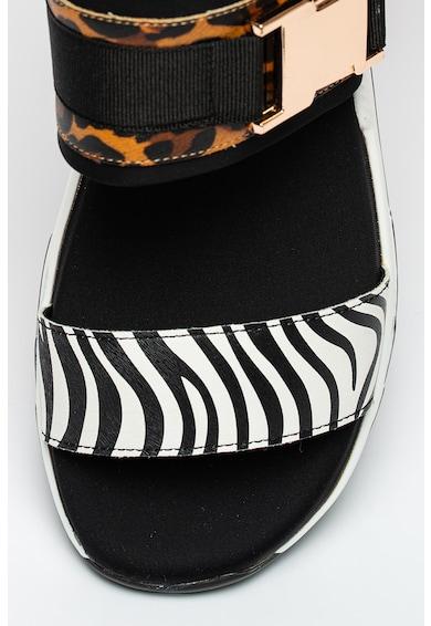 KEDDO Sandale slingback wedge de piele ecologica cu velcro Femei