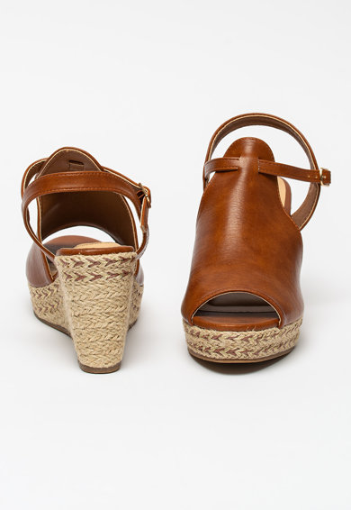 BETSY Sandale wedge de piele ecologica cu detalii cu aspect impletit Femei
