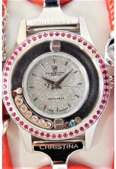 Christina Jewelry&Watches Ceas cu o curea de piele decorat cu un diamant, rubine, safire si topaze Femei