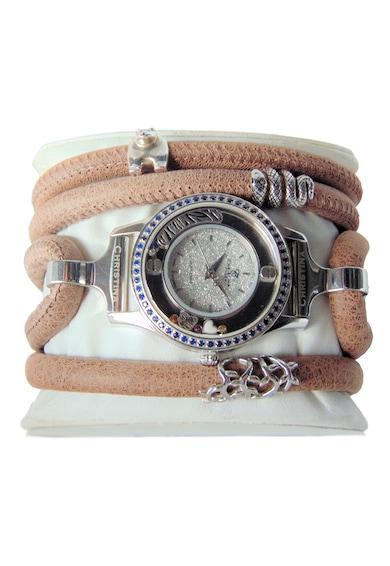 Christina Jewelry&Watches Ceas cu o curea de piele decorat cu un diamant si 54 de safire Femei