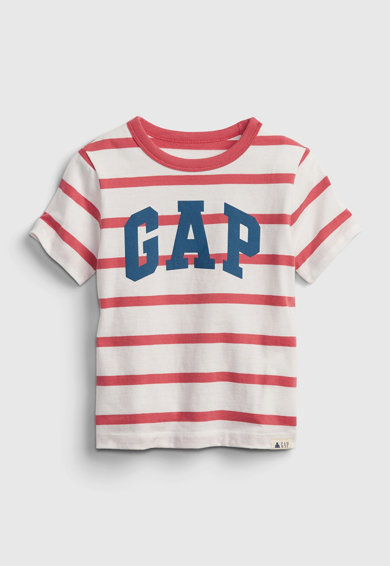 GAP Tricou de bumbac organic in dungi cu imprimeu logo Fete