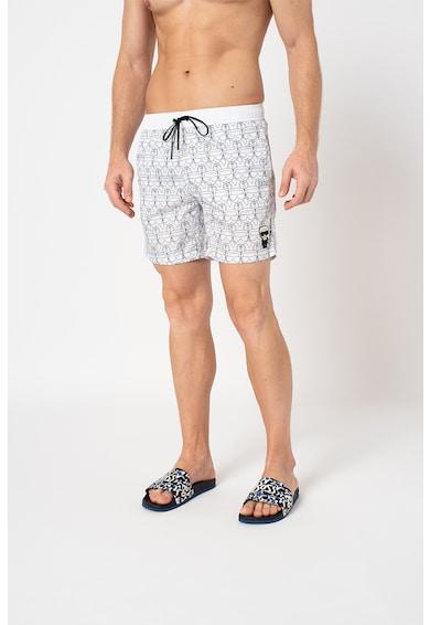 Karl Lagerfeld Pantaloni scurti de baie cu model si snur de ajustare Ikonic Barbati