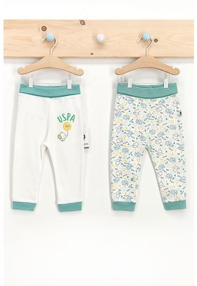 U.S. Polo Assn. Set 2 perechi pantaloni de bumbac cu imprimeu, Verde persan/alb Baieti