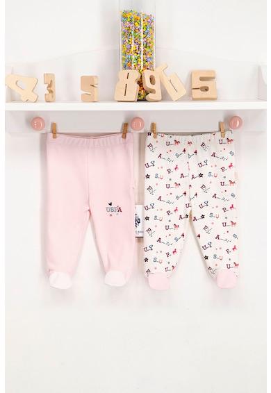 U.S. Polo Assn. Set 2 perechi pantaloni cu botosei, Roz somon/Alb Fete