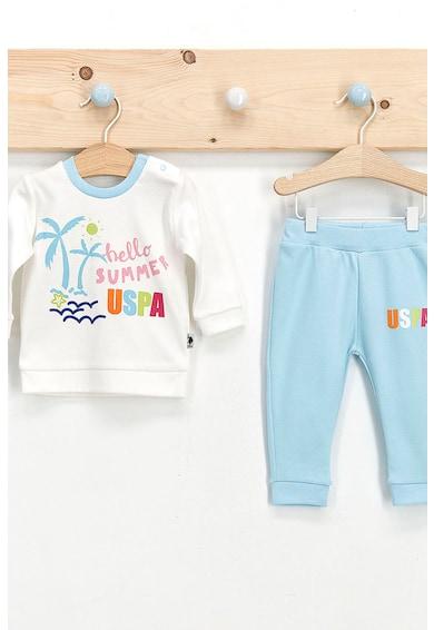 U.S. Polo Assn. Set de bluza si pantaloni cu imprimeu logo si tropical Baieti