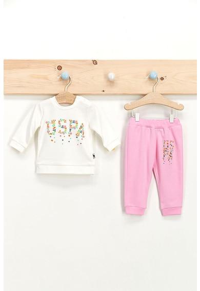 U.S. Polo Assn. Set de bluza sport cu imprimeu logo si pantaloni sport Fete