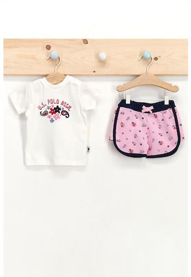 U.S. Polo Assn. Set de tricou cu imprimeu si pantaloni scurti regular fit Alb/Roz Fete