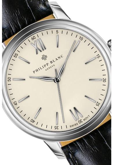 Philipp Blanc Set de bratara si ceas cu o curea de piele Barbati