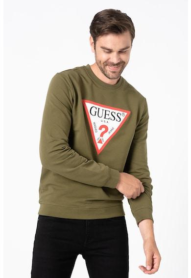 GUESS JEANS Bluza sport slim fit cu decolteu la baza gatului si imprimeu logo triunghiular Barbati