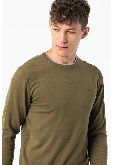 GUESS JEANS Pulover cu decolteu la baza gatului si aspect de tricot fin Barbati
