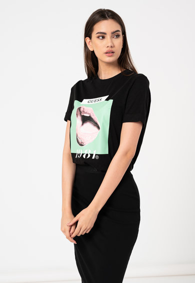 GUESS JEANS Tricou de bumbac cu imprimeu grafic Femei