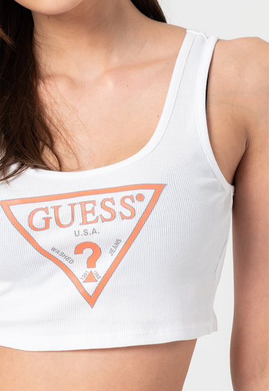 GUESS JEANS Top crop slim fit cu imprimeu logo Femei
