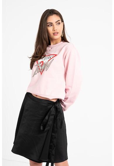 GUESS JEANS Bluza sport cu logo si detalii cu strasuri Femei